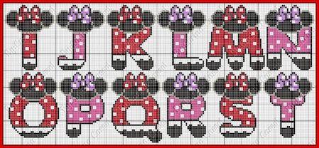 cros011 min - クロスステッチでイニシャル刺繍 〜 かわいいディズニーアルファベットの無料図案
