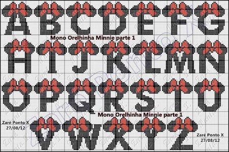 cros013 min - クロスステッチでイニシャル刺繍 〜 かわいいディズニーアルファベットの無料図案