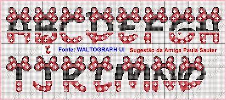 cros014 min - クロスステッチでイニシャル刺繍 〜 かわいいディズニーアルファベットの無料図案