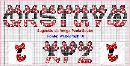 cros015 min - クロスステッチでイニシャル刺繍 〜 かわいいディズニーアルファベットの無料図案
