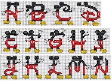 cros08 min - クロスステッチでイニシャル刺繍 〜 かわいいディズニーアルファベットの無料図案