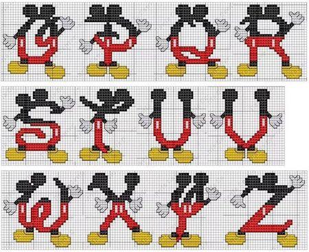 cros09 min - クロスステッチでイニシャル刺繍 〜 かわいいディズニーアルファベットの無料図案