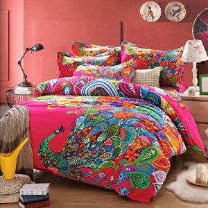 Amazing bohemian bedding with huge, colorful peacock design