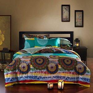 Teal and Yellow Boho Bedding with Circular Designs