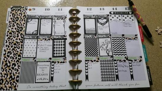 free printable black and white stickers used in planner