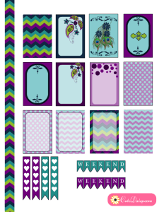 Free Printable Happy Planner Stickers in Teal and Purple Colors