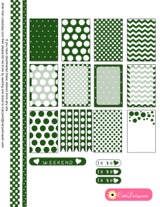 Stickers Kit with Polka Dots in Emerald Green Color