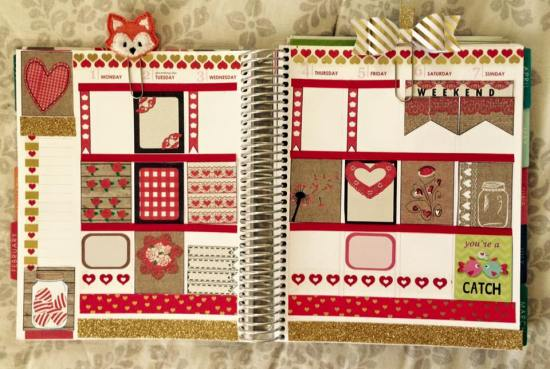 Rustic Valentine Stickers used in Planner