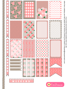 Shabby Chic Stickers in Pink and Taupe Colors