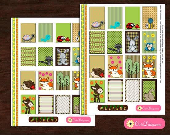 Free Printable Woodland animals Planner Stickers