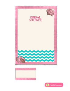 Free Printable Beach Bridal Shower Invitation in Pink Color
