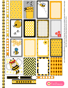 Free Printable Honey Bee themed Stickers for Happy Planner