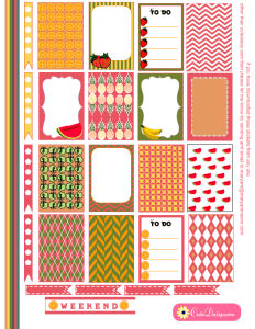 Free Printable Fruit Stickers for Happy Planner
