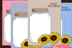 Free Printable Bridal Shower Invitations featuring Mason Jars and Sun Flowers