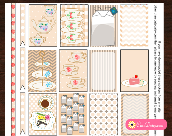 English Tea themed Stickers for Happy Planner and ECLP {Free Printable}