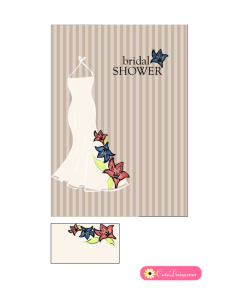 Floral Gown Bridal Shower Invitations in Off white color