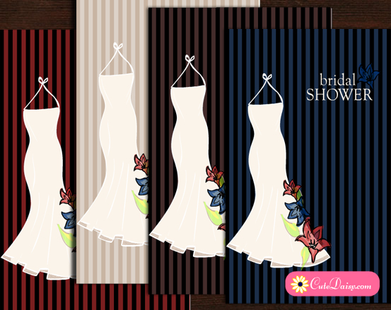 Floral Gown Bridal Shower Invitations Templates