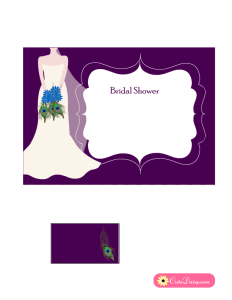 Free Printable Peacock themed Bridal Shower Invitation with Purple Background