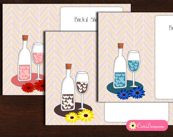 Free Printable Bridal Shower Cocktail Party Invitations