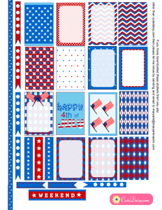 Free Printable 4th of July Stickers for Happy Planner