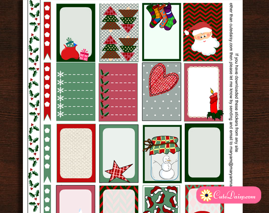 image regarding Printable Christmas Stickers identified as Free of charge Printable Xmas Stickers for Content Planner