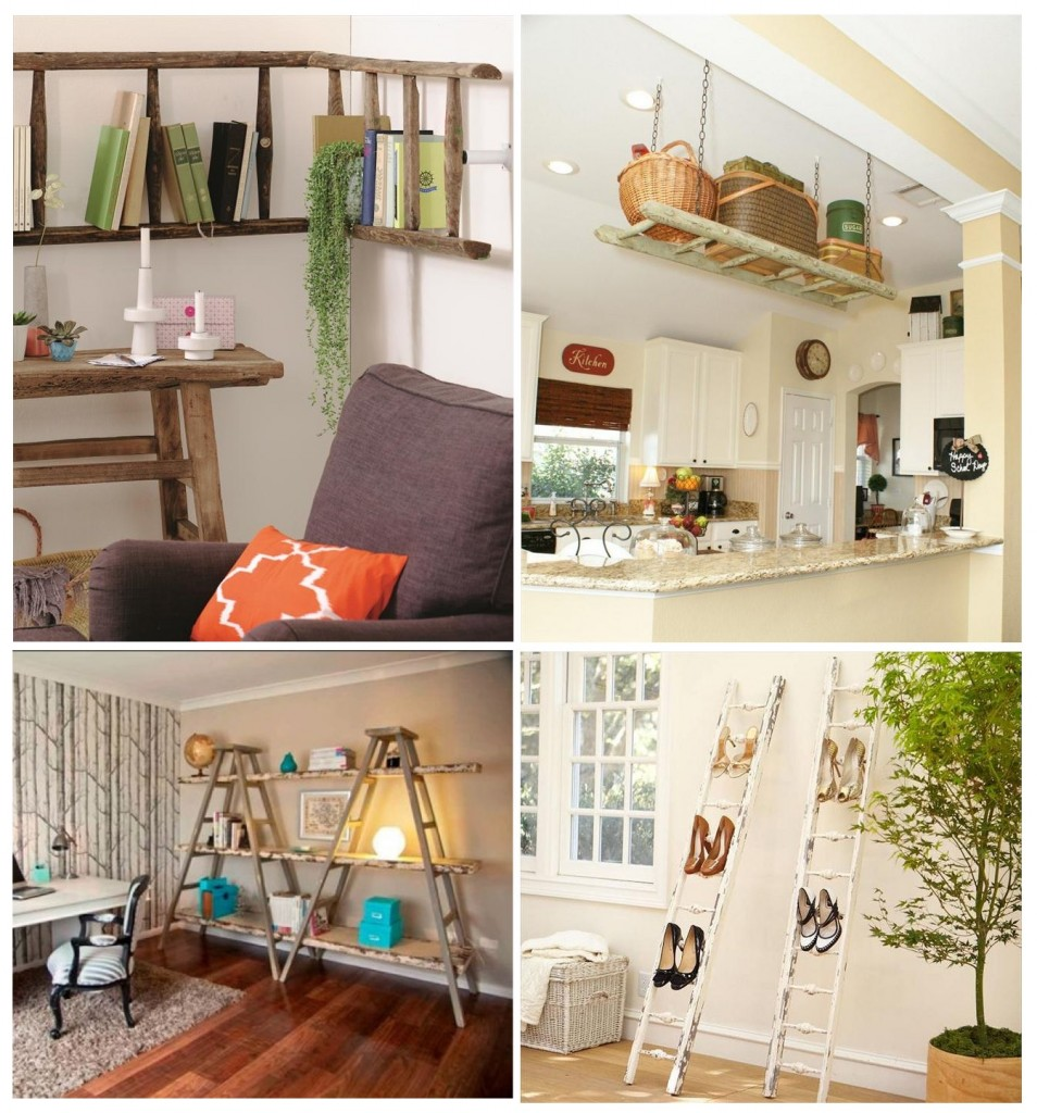 12 Amazing DIY Rustic Home Decor Ideas     Page 2 of 2     Cute DIY Projects 7  DIY Ladder Shelves