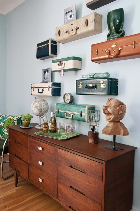 Ki Nassauer's Vintage Suitcase Shelves