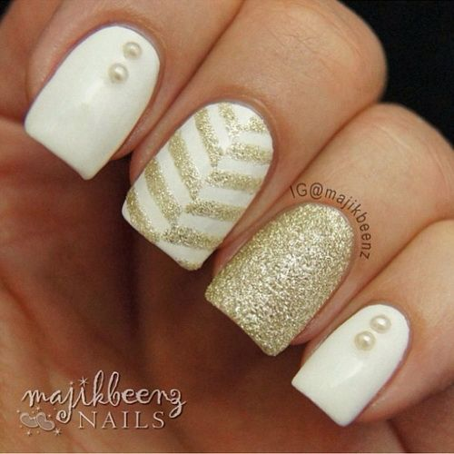 White And Gold Cly Acrylic Nail Design