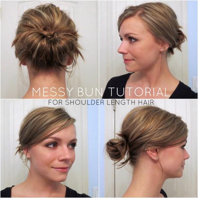 Simple Messy Bun For Medium Long Hair