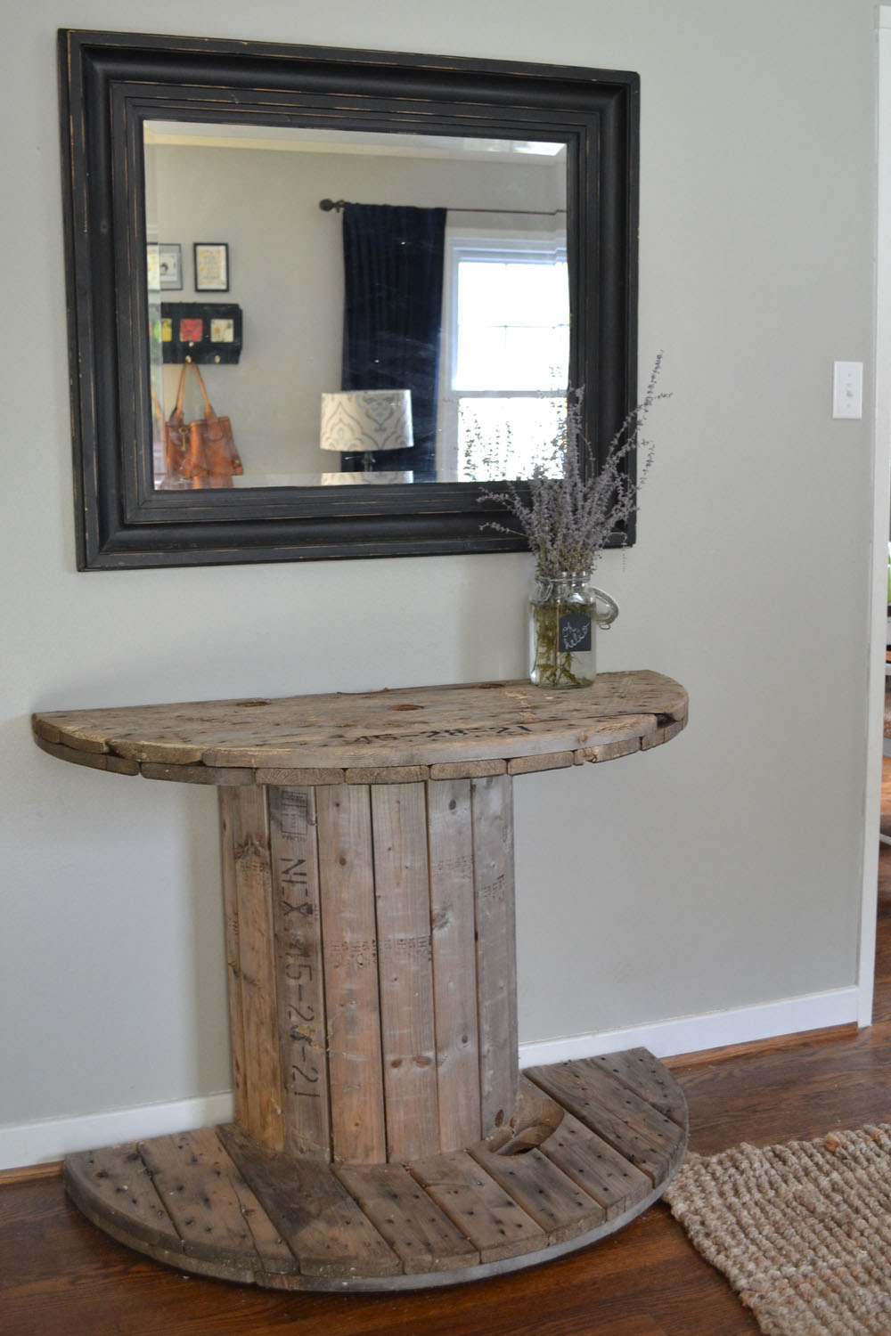 DIY Wooden Spool Console Table
