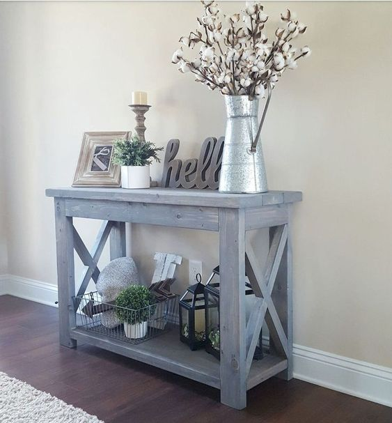 X-Legs Distressed Paint Entryway Table
