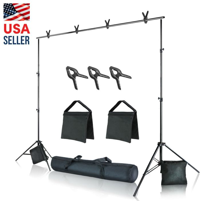 10 feet. Backdrop Stand Kit for Photography Background Support Kit (Refurbished)
