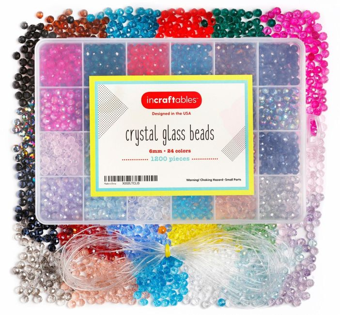 Crystal Glass Beads 24 Colors 1200pcs 6mm Kit for Jewelry Making by Incraftables
