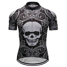New Mens Cycling Skull Jerseys Bike Race Tops Shirt Short Sleeve Biking Clothing