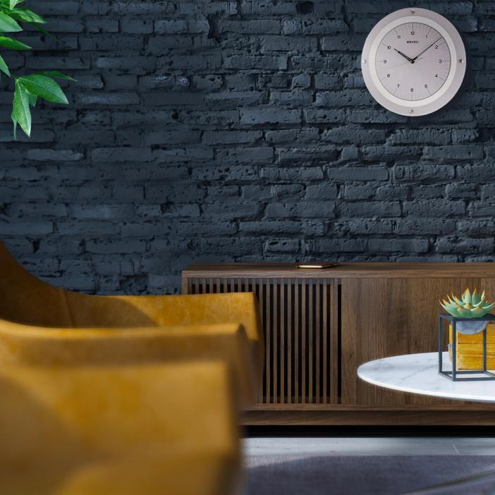 "Seiko 13"" Décor White & Glass Wall Clock"