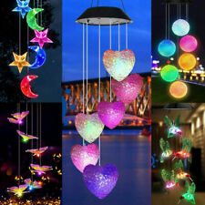Solar Wind Chimes Lights Color Changing LED Hanging Hummingbird Star Garden Lamp