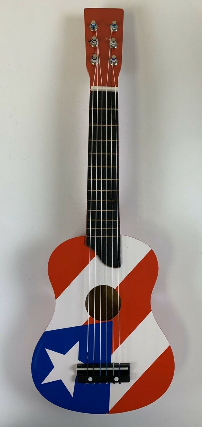 """Small Guitar With Puerto Rico Flag Design. 23"""" X 7-1/2"""" X 2-1/4""""."""