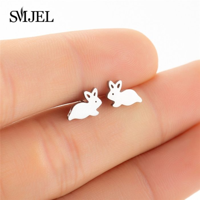 SMJEL Cute Black Bunny Rabbit Earrings for Women Bijoux Creative Cartoon Earings Lovely Animal Stud Earrings Gifts Kids
