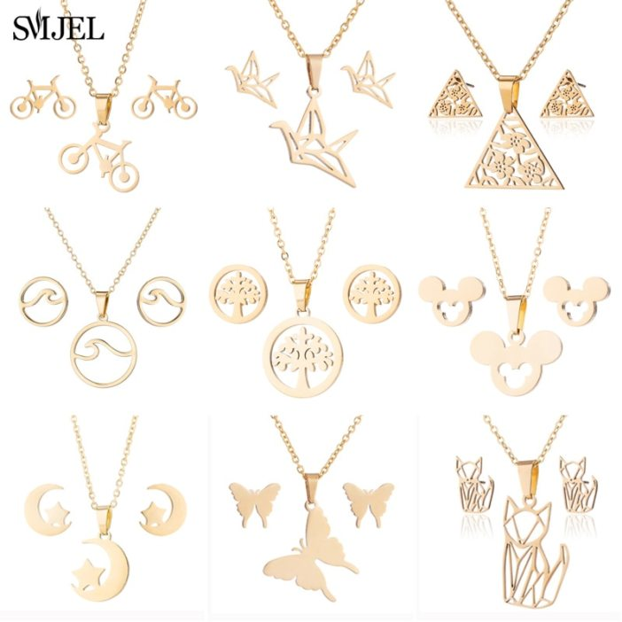 SMJEL Stainless Steel Butterfly Necklaces Women Gold Jewelry Lovely Cute Animal Christmas Necklaces 2021 for Child Kids Gifts