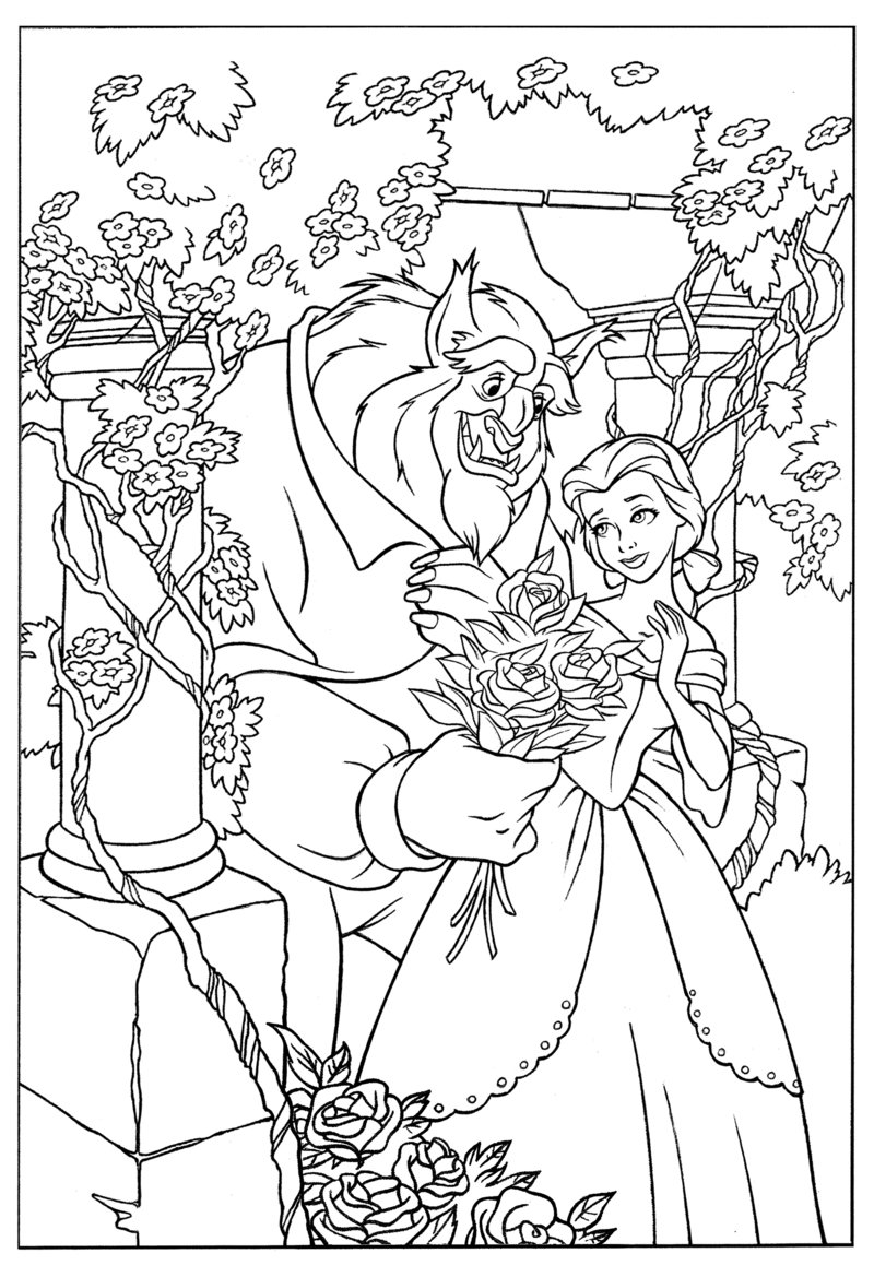 Coloring Pages For Beauty And The Beast Cute Kawaii Resources