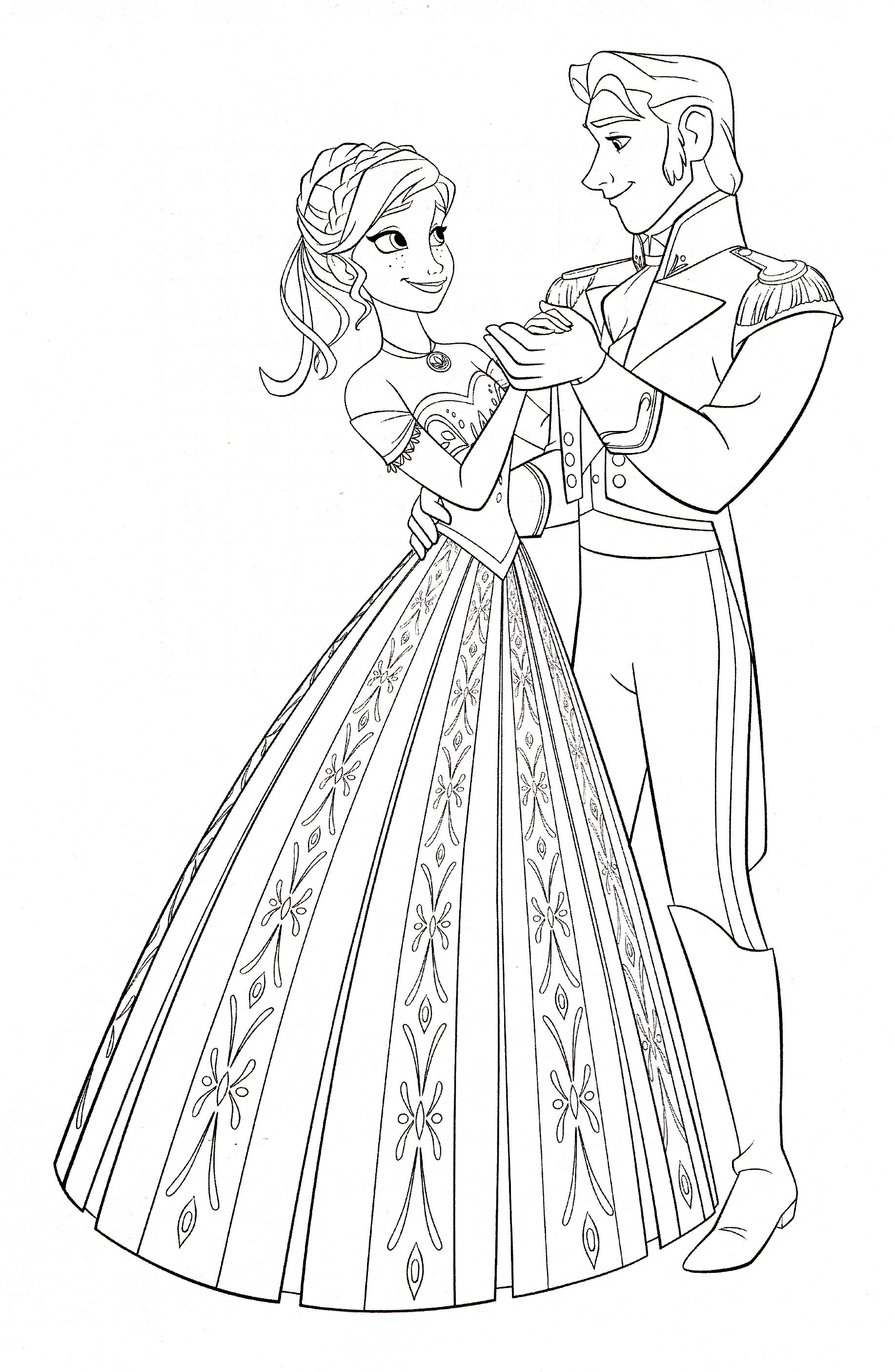 Walt Disney Coloring Pages Princess Anna Prince Hans Walt Disney