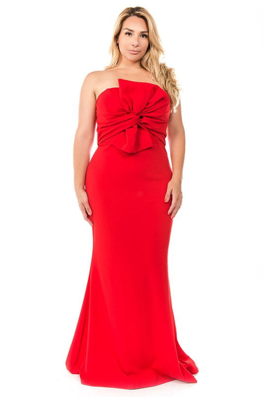 Red Shoulderless Long Flay Gown