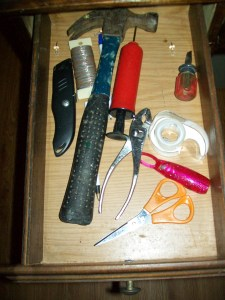 Tools and things to make a repair a Drawer in roll-top desk in the Coin Harvey Bedroom Beaver Lake Vacation Rental