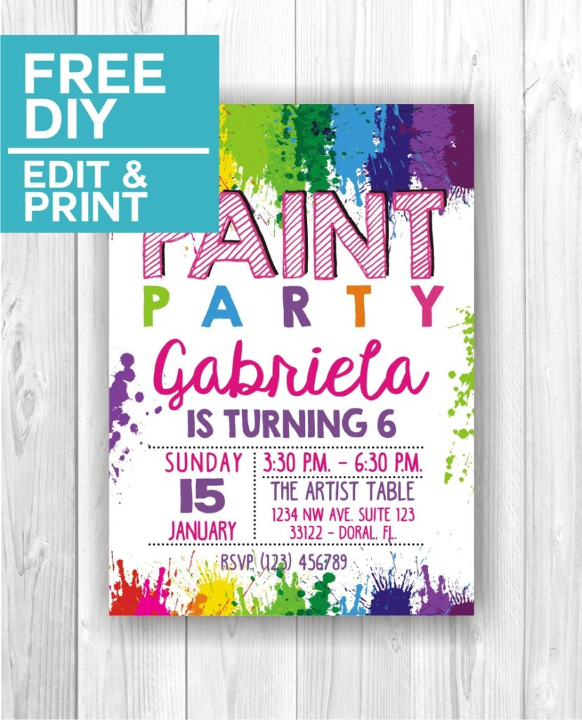 Paint Party Invitations Cute Party Printables
