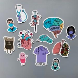 nursing laptop stickers gray