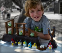 Balin and his Angry Birds birthday cake