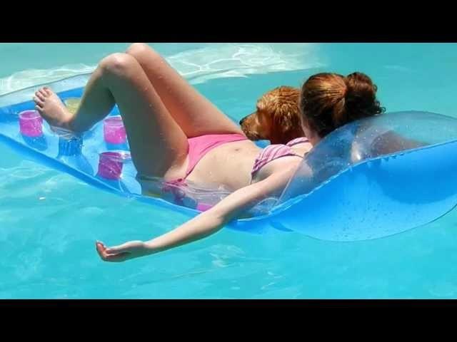 Golden Retriever Steals Pool Float