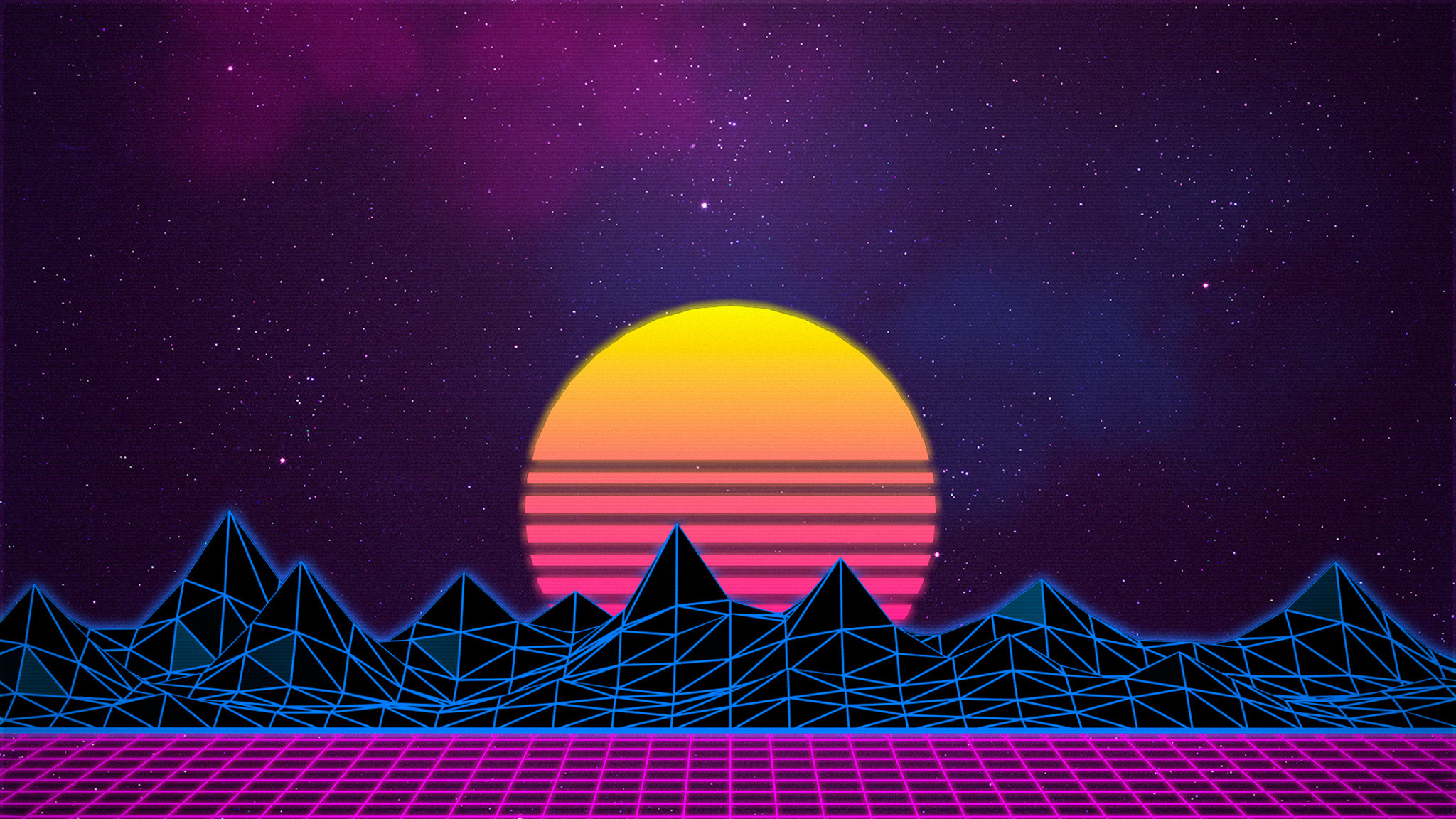 20 X 20 Pictures  20x20 Retrowave Grid Mountain 20x20 ...