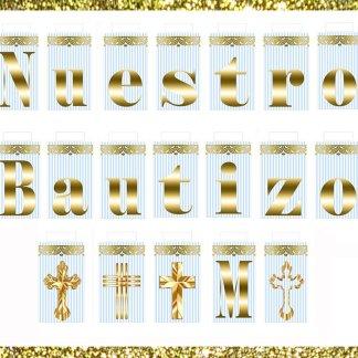 Printable Nuestro Bautizo Mi Banner Blue Gold Baptism Sign Light Cross Stripe Instant Download Party Decoration Decor Diy Jpeg Pdf