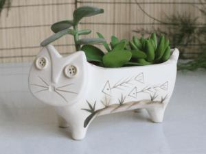 Katten Bloempot keramiek